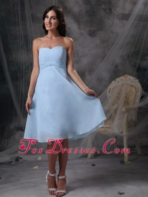 Baby Blue Chiffon Sweetheart Ruched Bridesmaid Dress