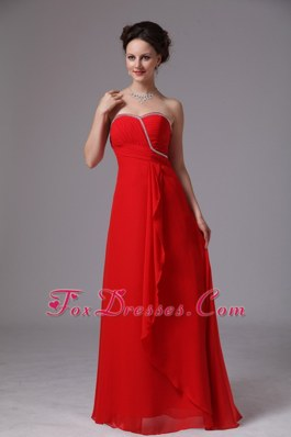 Sweetheart Red Chiffon Bridesmaid Dresses Beaded