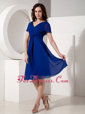 Royal V-neck Knee-length Bridesmaid Dresses Ruched