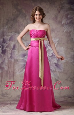 Hot Pink Column Belt Satin Bridesmaid Dresses with Ruches