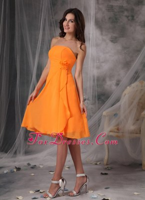 Orange Empire Flowers Chiffon Bridesmaid Dresses 2013