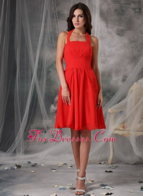 Halter Empire Red Chiffon Ruched Bridesmaid Dresses