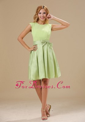 Bowknot Decorate Scoop Green Bridesmaid Dresses For 2013