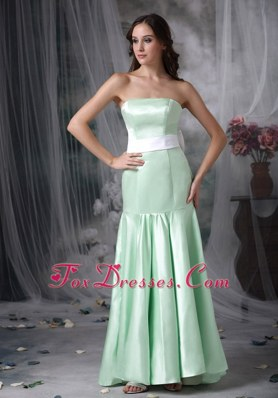 Apple Green Mermaid Bridesmaid Dresses Brush and Sash