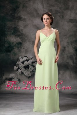 Column Straps Chiffon Bridesmaid Dresses in Yellow Green