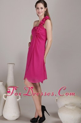 Hot Pink One Shoulder Bridesmaid Dresses with Flowers