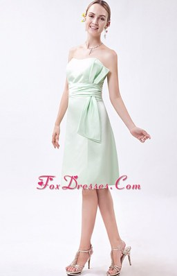 Apple Green Ruched Bridesmaid Dresses Mini-length