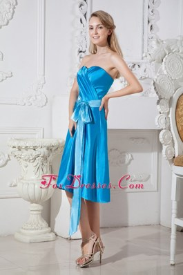 Blue Sweetheart Bridesmaid Dresses Ruched and Bows on Sale