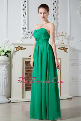 Green Sweetheart Chiffon Bridesmaid Dresses Pleats Decorate