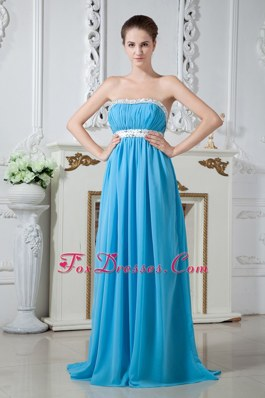 Brush Train Teal Chiffon Bridesmaid Dresses Beaded