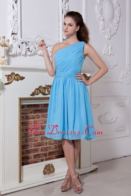 One Shoulder A-line Teal short Bridesmaid Dresses Ruched