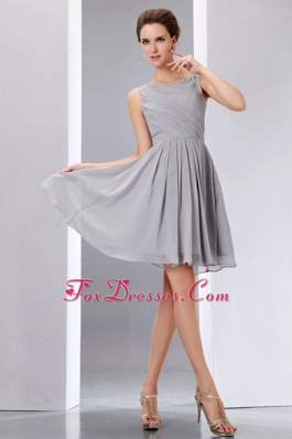 Ruche A-line Scoop Short Bridesmaid Dress in Grey
