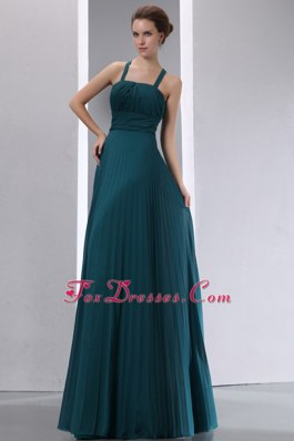 Pleated Peacock Green A-line Bridesmaid Gown with Straps