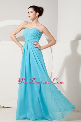 Baby Blue Sweetheart Bridesmaid Dress Empire Chiffon