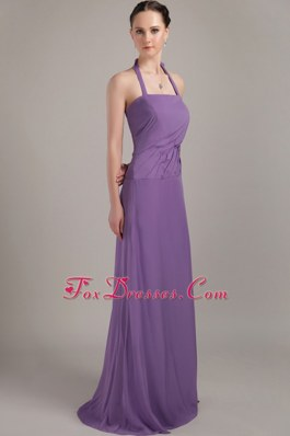 Brush Train Halter Purple Bridesmaid Gown with Ruching