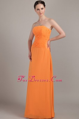 Orange Long Strapless Chiffon Beaded Bridesmaid Dresses