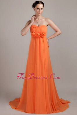 Flowers Sweetheart Orange Bridesmaid Dress Empire Chiffon