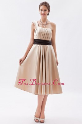 Satin One Shoulder Champagne Bridesmaid Dresses Sashed