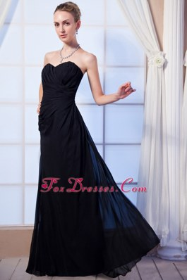 Sweetheart Long Black Ruching Empire Bridesmaid Dress