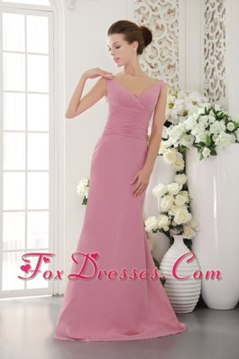 Sweep Train Light Pink Bridesmaid Dresses V-neck Chiffon