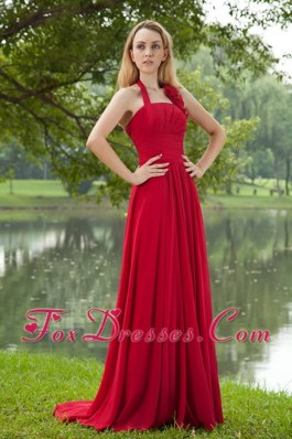 Brush Chiffon Red Halter Ruched Bridesmaid Dresses