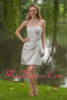Mini-length Sheath Satin Grey Pleated Bridesmaid Dress
