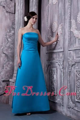 A-line Sky Blue Strapless Floor-legnth Bridesmaid Dresses