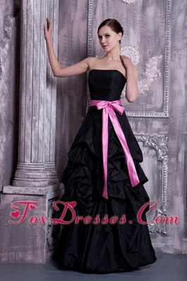 Strapless Black A-line Bridesmaid Dresses with Sash and Pick-ups