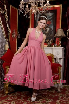 Beaded Light Pink A-line Halter Tea-length Bridesmaid Dresses