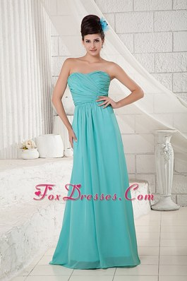 Brush Train Turquoise Sweetheart Ruched Bridesmaid Dresses