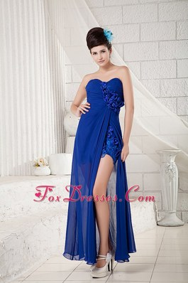 Peacock Blue Sweetheart Ankle-length Appliqued Bridesmaid Dresses