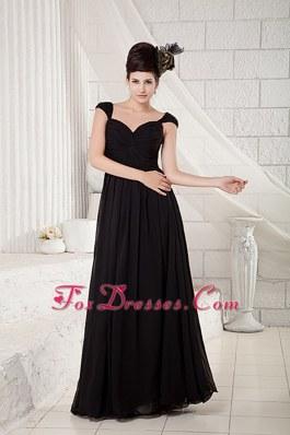 Cap Sleeves Black Floor-length Bridesmaid Dresses