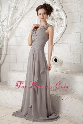 Gray V-neck Brush Train Chiffon Ruched Bridesmaid Dresses