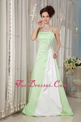 Straps and Brush Train Yellow Green Bridesmaid Dresses with beading
