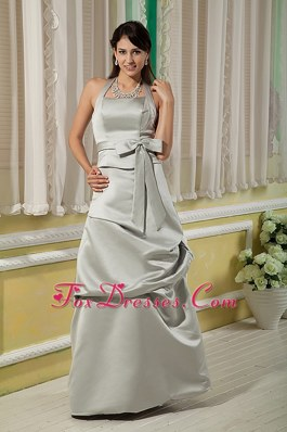 Halter Grey Floor-length Bridesmaid Dressess with Bow