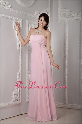 Baby Pink Strapless Floor-length Beading Bridesmaid Dresses