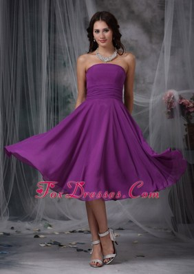 Purple Strapless Tea-length Ruched Bridesmaid Dresses