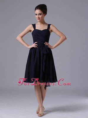 Ruched A-Line Navy Blue Straps Knee-length Bridesmaid Dresses
