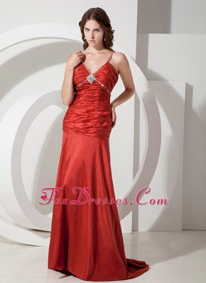 Prom Gown Red Column V-neck Ruched Brush Train