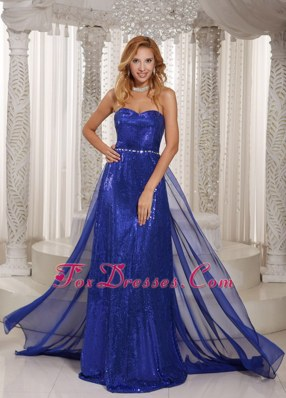 Paillette Royal Blue Prom Celebrity Dresses Sweetheart