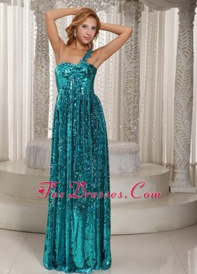 One Shoulder Teal Paillette Long Prom Celebrity Dresses
