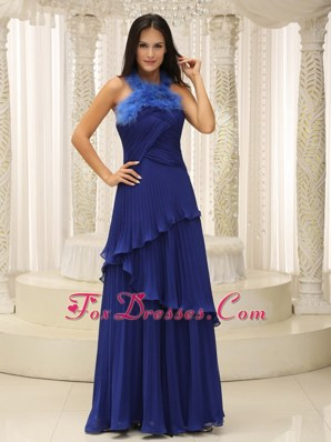Royal Blue Pleat Feather Halter Top For 2013 Prom Dresses