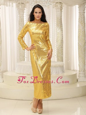 2013 Prom Celebrity Dress Long Sleeves Ankle-length Paillette