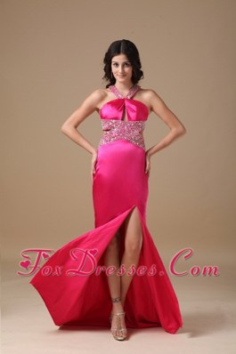 Hot Pink Beading V-neck Brush Train Column Celebrity Evening Dresses