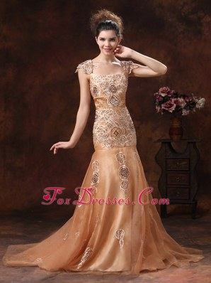 Embroidery Orange Square 2013 Celebrity Pageant Dresses