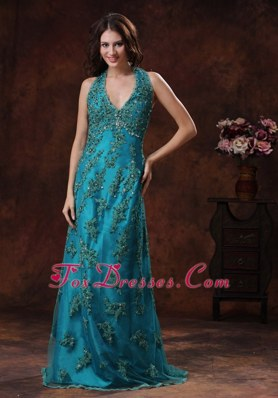 Halter Teal Blue Appliques Brush Train Celebrity Pageant Gown