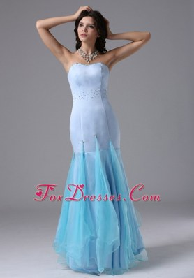 2013 Light Blue Mermaid Beading Long Prom Celebrity Dress
