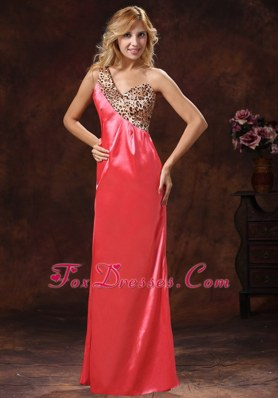 2013 One Shoulder Watermelon Red Prom Celebrity Dresses