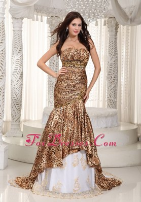 Mermaid Sweetheart Leopard Beading Celebrity Pageant Dress