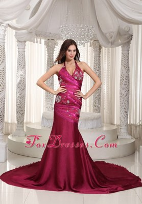 Mermaid Halter Top Embroidery Sexy Celebrity Pageant Dresses